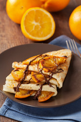 Crepes Suzette - thin pancakes with orange sauce
