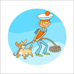little dog and boy in sailor clothes pulls a rope