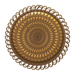 gold round ornament background on isolated white
