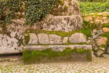Cobblestone road to the palace foam among the rocks and trees an