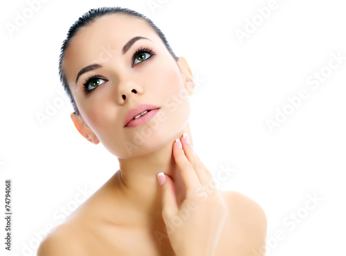 canvas print picture Beautiful female with clean fresh skin, white background