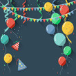 Birthday background with flying balloons/flat design style