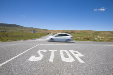 stop crossroads fast car
