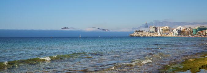 Benidorm and Poniente beach in Spain.