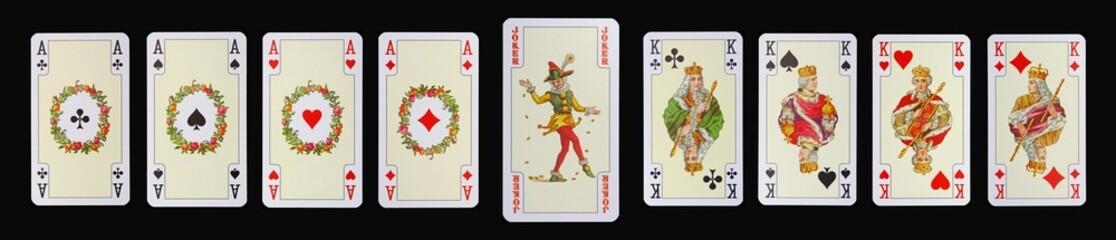 Spielkarten der Ladys - ASSE - JOKER - KÖNIGE