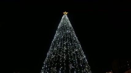 Christmas tree with neon light flashing