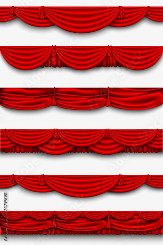 red silk set Pelmet and silk red curtains - 74795081