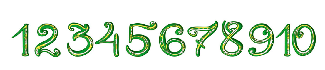 Handwritten green numerals with yellow decoration on white