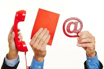 Hände mit Konzept für Kommunikation