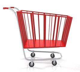 Empty Red Shopping Cart