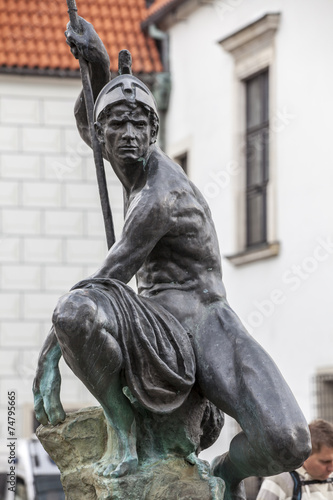 Tuinposter Fontaine Sculpture of Mars on the Old Market Square in Poznan, Poland