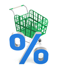 Shopping Cart with Percent Sign.