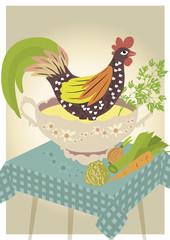 Huhn in Suppenschüssel mit Gemüse