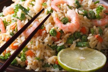 Japanese chahan: fried rice with shrimp macro. Horizontal