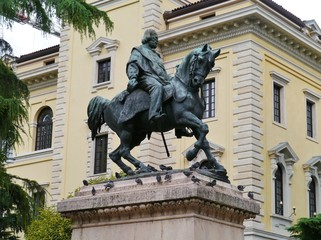 The bronze statue of Garibaldi in Verona in Italy