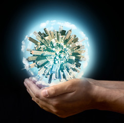 Miniature planet in the hands