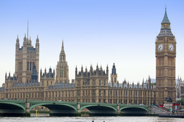 Famous and Beautiful view to Big Ben and Houses of Parliament wi