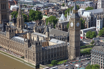 House of Parliament with Big Ben tower with Thames river in Lond