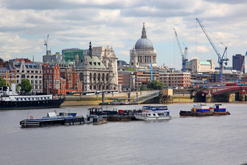 St. Paul's Cathedral and Thames river in London