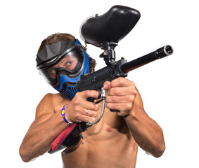 Cool paintball player with marker on white background