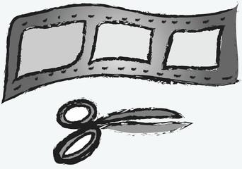 cartoon retro film strip and scissors