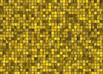 many small gold square tile mosaic. pattern texture. abstract im