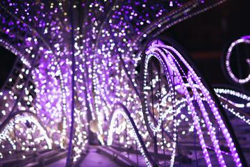 Bokeh of big christmas light tree