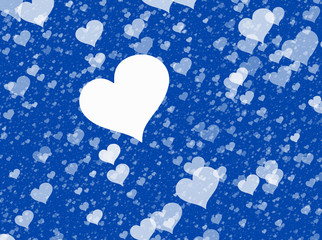 flying white hearts on blue backgrounds. Love texture