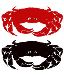 crab cancer pagurus red and black white background