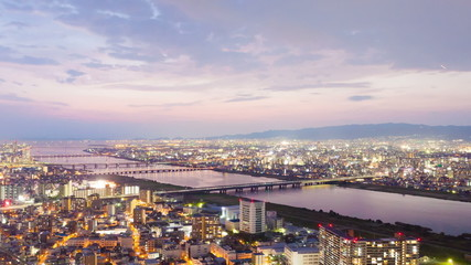 Timelapse video of Osaka in Japan at sunset, aerial view