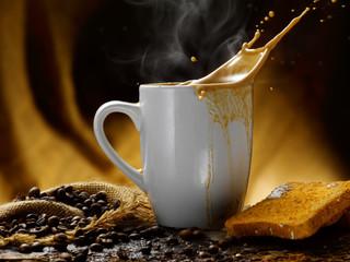 caffe' latte e fette biscottate