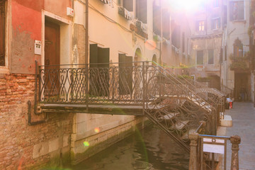 Bridges with wrought iron railings in the Venetian courtyard aga