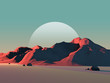 Leinwanddruck Bild - Low-Poly Mountain Landscape at Dusk with Moon