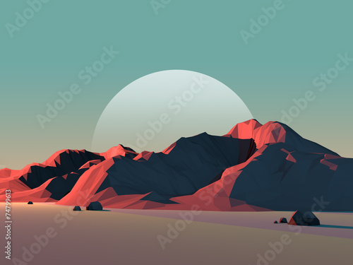 Low-Poly Mountain Landscape at Dusk with Moon - 74799613
