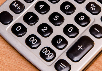 close-up of an old electronic calculator