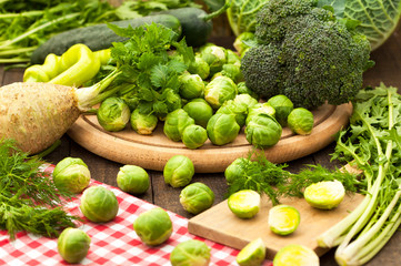 Group of raw fresh assorted green vegetables