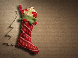 Christmas sock on paper background