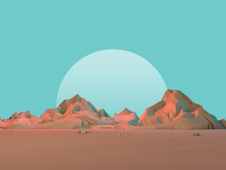 Low-Poly 3D Geometric Desert Mountains with Moon