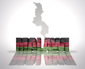 Word Malawi on a map background