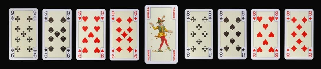 Spielkarten der Ladys - NEUN - JOKER - ACHT