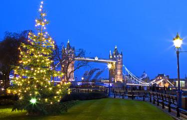 View of Tower Bridge at Christmas