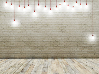 Brick wall with ligh bulbs, background