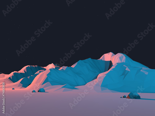 Low-Poly Mountain Landscape at Night with Stars - 74800808
