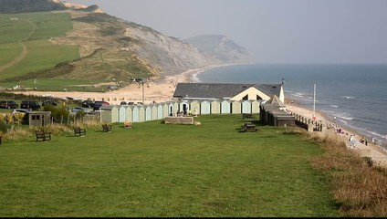 Charmouth coast Dorset England UK overlooking Lyme Bay