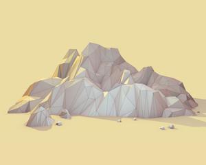 Geometric 3d Mountain Scene