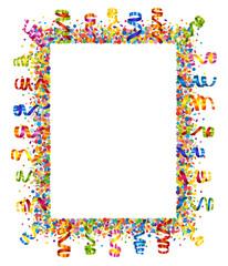 Confetti and serpentine frame
