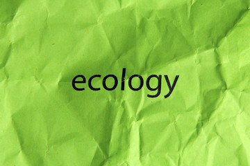 word ecology on crumpled green paper