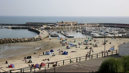 Beach and harbour Lyme Regis Dorset England UK