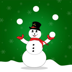 Juggling Snowman Over a Snowy Green Background