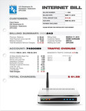 Internet ISP Expenses Bill Document Template with Router poster